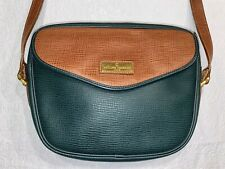 Philippe Charriol Paris Green & Brown Textured Leather Classic Shoulder Bag MINT