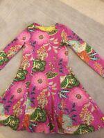 Designer Oilily Dress Age 7yrs / 122cm Pink Vibrant Print L/ Sleeve