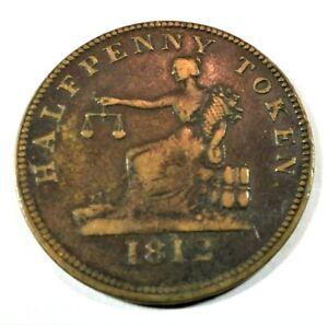 "1812 Canadian Half Penny Token Reeded Edge ""Thomas Halliday""    (036)"
