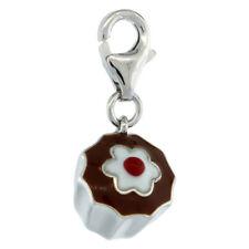 Sterling Silver Enameled 3D CHOCOLATE CUPCAKE DESSERT Charm for Bracelet