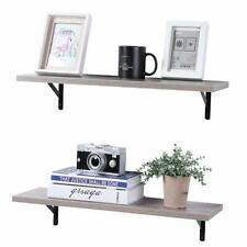 SUPERJARE Wall Mounted Floating Shelves Set of 2 Cream Gray