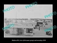 OLD HISTORIC PHOTO OF MULLEWA WEST AUSTRALIA, VIEW OF TOWN & MOTOR GARAGE c1930