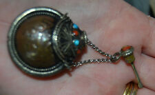 VINTAGE Copper TURQUOISE STERLING SILVER ? SNUFF BOTTLE