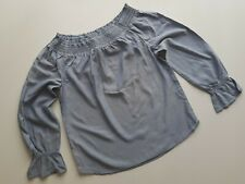 H&M girls blue long sleeve off the shoulders top size 13-14 years  BNWOT