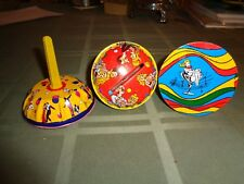 Vintage Noise maker lot of 3 metal plastic handle Party Round #D