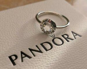 NEW Pandora Radiant PANDORA Logo Ring Silver Box Bag Size 60 RRP £50