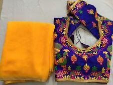 indian SARI EMBROIDERY READYMADE CHOLI blouse top yellow Georgette saree