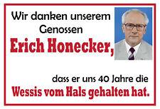 Wir danken Erich Honecker Blechschild Schild gewölbt Metal Tin Sign 20 x 30 cm