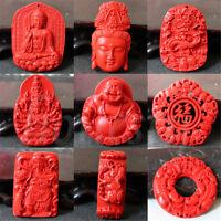 1X Natural Red Cinnabar Guanyin Buddha Dragon Pendant DIY Necklace Lucky Amulet