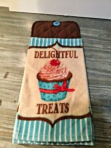 Hanging Kitchen Stove Hand Towel Button Top with Cupcake