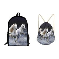 School Bag Set Animal Horse Wolf Print Backpack Bookbag Set With Drawstring Bags