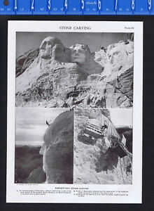 Stone Carving of Mount Rushmore by Gutzon Borgium - 1950s Print