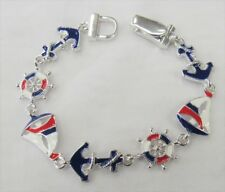 Red White & Blue Nautical Anchor Sailboat Buoy Charm Bracelet Magnetic Clasp