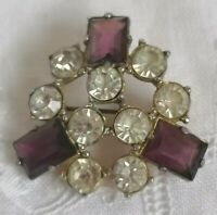 Amethyst Glass Clear Paste Brooch 1940s 50s Purple Old Jewellery Retro Vintage