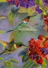 "FM116 HUMMINGBIRDS IN FLIGHT SUMMER 12""x18"" GARDEN FLAG BANNER HUMMING BIRD"