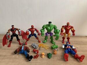 Marvel Super Hero Mashers X5 Hulk,Falcon,Spider-Man & Ironman + Extras In VGC