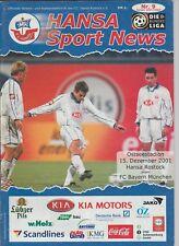 Orig.PRG   1.Bundesliga  2001/02   FC HANSA ROSTOCK - BAYERN MÜNCHEN  !!  SELTEN