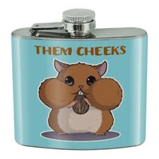 Hamster Them Cheeks Eating Sunflower Seed Stainless Steel 5oz Hip Drink Flask