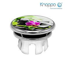 KNOPPO Waschbecken Überlaufblende, Abdeckung - Mirror Wellness Stein Motiv chrom