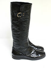 Jimmy Choo Patent Black Leather knee high shearling fur lined boots 39 uk 6