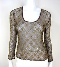 VIVIENNEE TAM LONG SLEEVE BEADS EMBROIDERED SHEER BLOUSE SIZE 1 BROWN