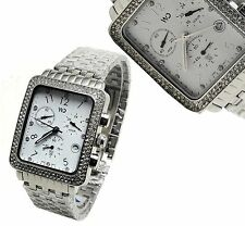 Ladies Womens Word On Design Silver/White Square Chronograph Cz Wrist Watch Date