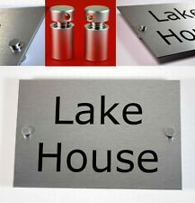House Number Sign/Plaque Brushed Aluminium. Contemporary, Modern. Asscher Design