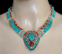 Tribal sterling silver necklace Asian regional jewelry turquoise Coral stone AZ6