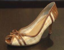 Stuart Weitzman Women's Wicker & Leather Open Toe Pumps Heel 8B 8 B