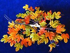 """Vintage Millinery Leaf Collection All Velvet Orange Green Fall 1"""" Japan H3167"""