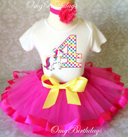 Unicorn Rainbow Horse pink Girl 4th Fourth Birthday Tutu Outfit Shirt Set Party