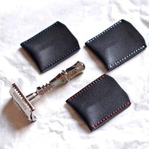 1PC Double Edge Safety Razor Head Sleeve Protective Case Leather Without Raz F2