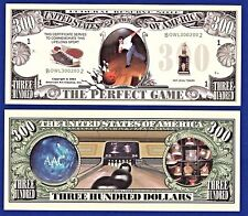 "2-Bowling ""Perfect Game""Dollar Bills Collectible-Strike-Novelty- FAKE -MONEY-H2"