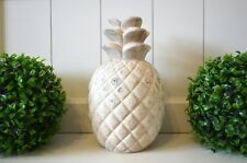 Deko Ananas Keramik Deko-Objekt creme Tischdeko Garten-Skulptur Gartendeko 25cm