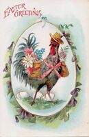 CHICKEN WEARING HAT-BASKETS FLOWERS TIED TO BACK EASTER GREETINGS POSTCARD 1910