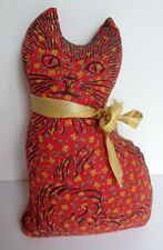 Vintage Primitive Country Stuffed Litho Printed Calico Cat Cloth Fabric Doll Toy