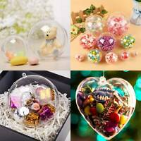 Clear Plastic Christmas Craft Balls Baubles Sphere Fillable Xmas Tree Ornament