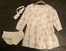 Gymboree Baby Girls Size 18-24 Months White Dress, Matching Headband, Bloomers