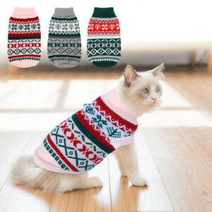 Christmas Sweater for Cats Knitted Small Dog Clothes Pet Puppy Jumper Grey Pink