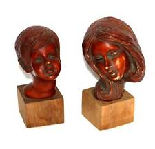 Vintage 1960s Achatit Germany carved busts of mother & son
