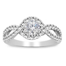 1.86 Ct Round Cut Diamond Split Shank Halo Engagement Ring 14K White Gold Over