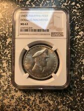 1947-S Philippines 1 Peso NGC MS63 Lot#PJ45 Silver! Douglas MacArthur