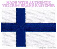 FINLAND FLAG PATCH FINNISH EMBLEM EMBROIDERED EMBLEM w/ VELCRO® Brand Fastener