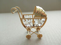 Vintage Miniature Dollhouse Golden Metal Baby Carriage Stroller Clear Crystals
