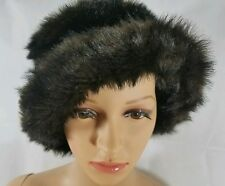 Womens Hat Faux Fur Mink Size 7 1/8 Brown Ladies Lined Winter Heavy Brim Classic