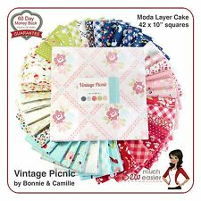 Moda Vintage Picnic Layer Cake Squares Modern Quilt Fabric Retro Floral Gingham