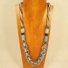"""34"""" Turquoise Multi Color Ring Statement Handmade Seed Bead Necklace"""