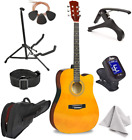 """Master-play Beginner Full Size 41"""" Wood Cutaway All String Acoustic Guitar, With"""
