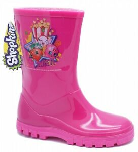 GIRLS KIDS CHILDRENS PINK SHOPKINS SPLASH BOOTS RAIN WELLIES UK 7 + 9