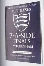 MIDDLESEX SEVENS-MAY 4TH 1974-TWICKENHAM-RUGBY UNION PROGRAMME *